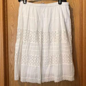 New St. John's Bay white eyelet midi skirt XL